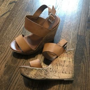 Shoes - Tan strappy cork wedge sandals